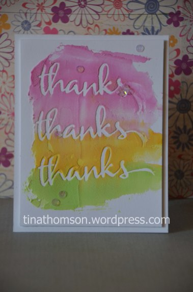 embossing paste thanks card